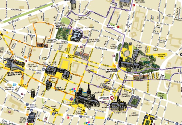 Plan Des Rues De La Ville De Rouen
