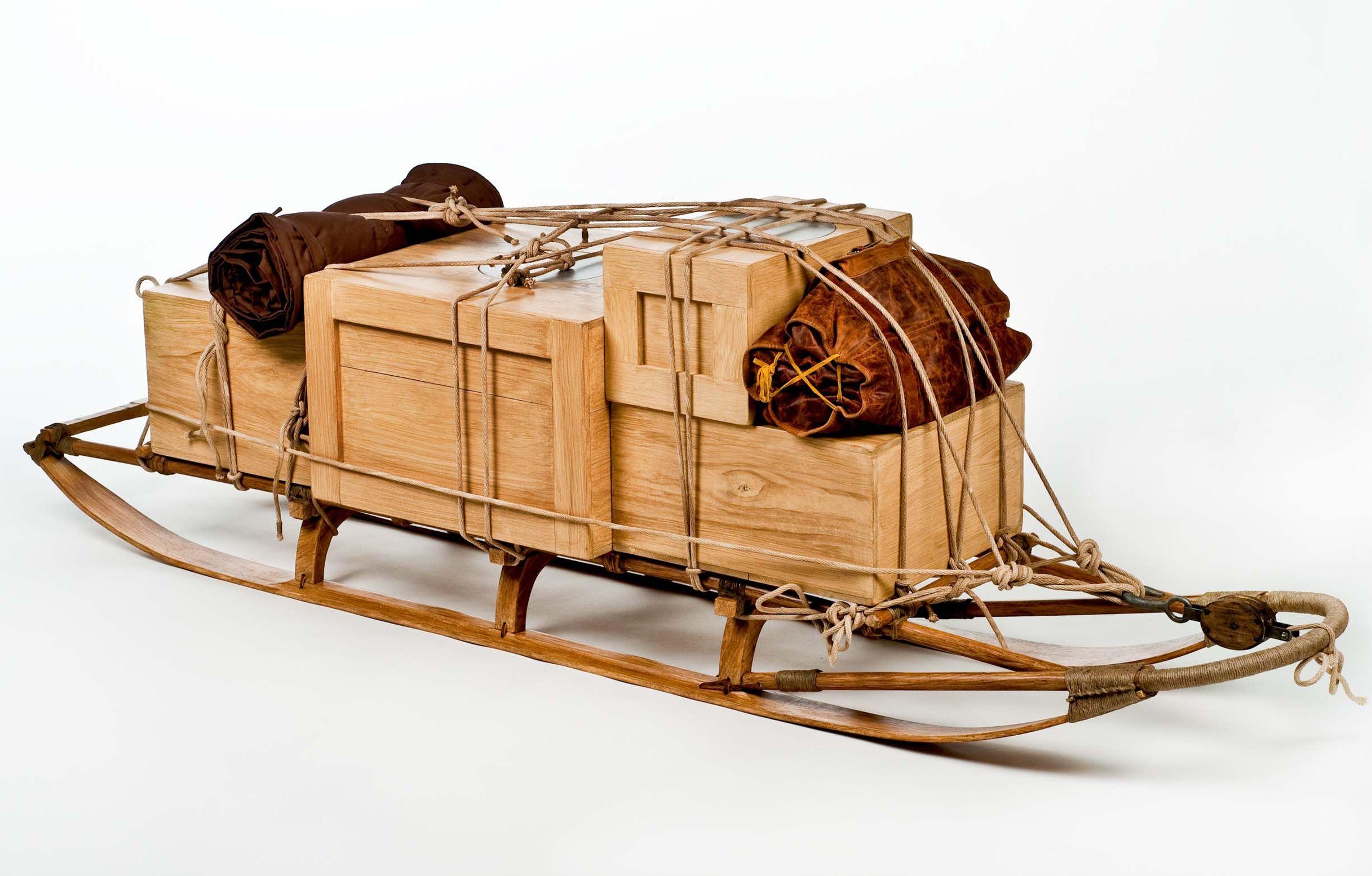 Traîneau présenté dans l'espace souterrain reconstitué Amundsen © AMNH D Finnin