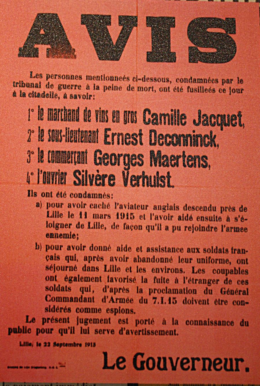 affiche fusillés lillois 1915 balade historique, www.balades-historiques.com