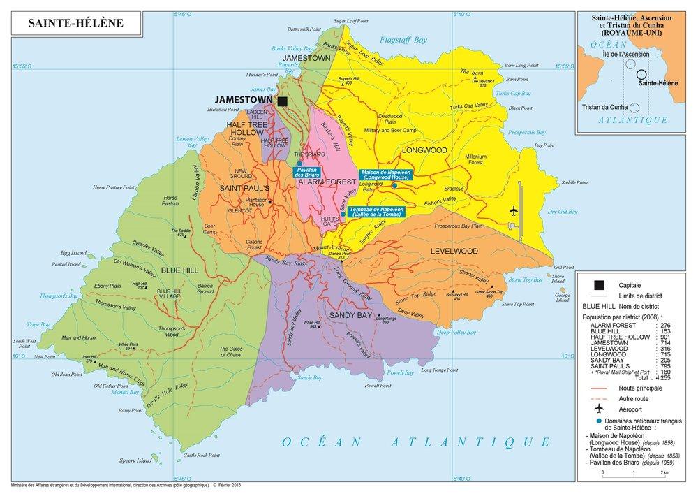 carte de l'île de Sainte-Hélène